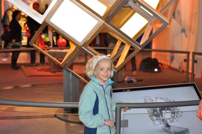 Marica in front of the giant cube